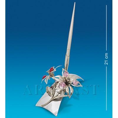 """Письменный прибор """"Лилия"""" 15x14x13,5 см., посеребр. с цвет. крист. Crystal Temptations, США"""