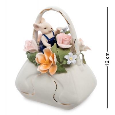 """Статуэтка """"Мышонок с сумкой цветов"""", 12 см., фарфор Pavone, Италия"""