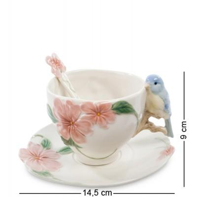 """Чайный набор """"Голубая птица Счастья"""" 9 см., 3 предм. Pavone, Италия"""