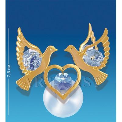 "Фигурка на липучке ""Сердечко с голубями"" 7,5 см., Crystal Temptations, США"