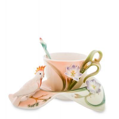"""Чашка с блюдцем """"Попугай Какаду"""" 200 мл., 3 пр., фарфор Pavone, Италия"""
