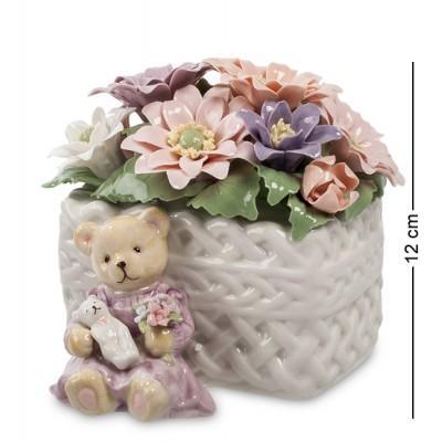 """Музыкальная фигурка """"Медвежонок с цветами"""", 13x13x12 см., Pavone, Италия"""