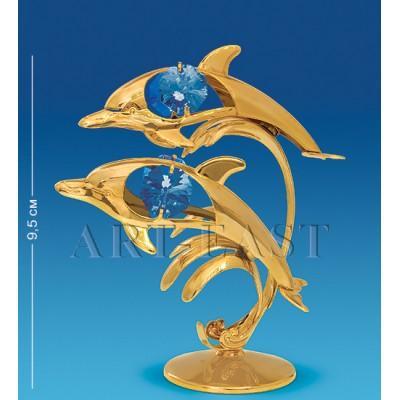 """Фигурка """"Дельфины"""" 8,5x5,5x9,5 см., с цвет. крист. Crystal Temptations, США"""