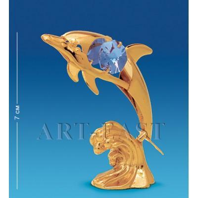 "Фигурка ""Дельфин на волне"" 5x3x8 см., с цвет. крист. Crystal Temptations, США"