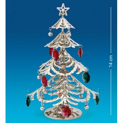 "Фигурка ""Новогодняя елка"" 9,5x9,5x14 см., посеребр. с цвет. крист. Crystal Temptations, США"