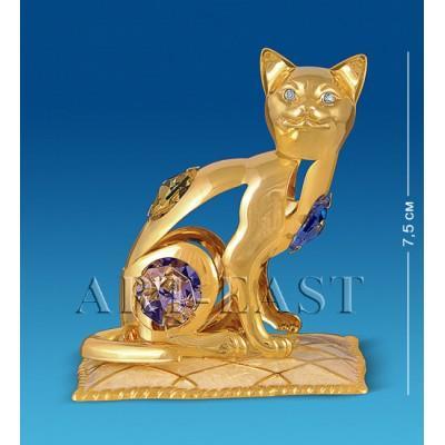 """Фигурка """"Кошка на подушке"""" 7x5x7,5 см., с цвет. крист. Crystal Temptations, США"""