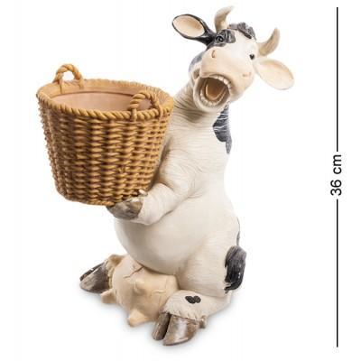 """Статуэтка-кашпо """"Корова с корзиной"""" 30x22x36 см., полистоун Sealmark, США"""