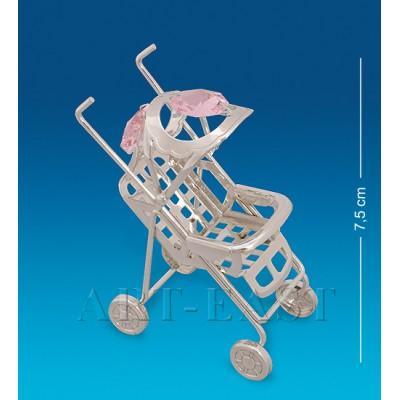 """Фигурка """"Детская коляска"""" 6x3x7,5 см., посеребр. с цвет. крист. Crystal Temptations, США"""
