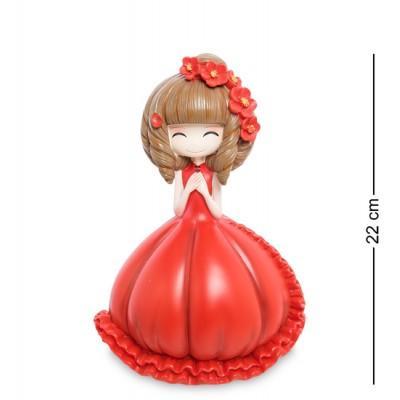 """Статуэтка-копилка """"Девочка в красном платье"""", 22 см., полистоун"""