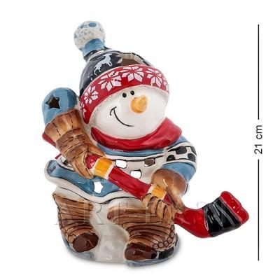 "Статуэтка-подсвечник ""Снеговик-хоккеист"" 21x12x21 см., Blue Sky, Италия"