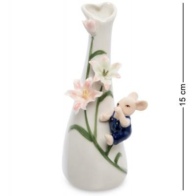 "Ваза ""Мышонок с цветами"", 15 см., фарфор Pavone, Италия"