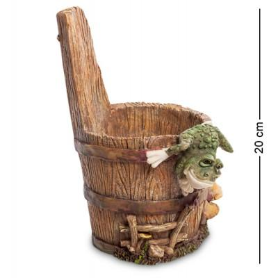 """Статуэтка-кашпо """"Лягушка на кадушке"""" 15x15x20 см., полистоун Sealmark, США"""