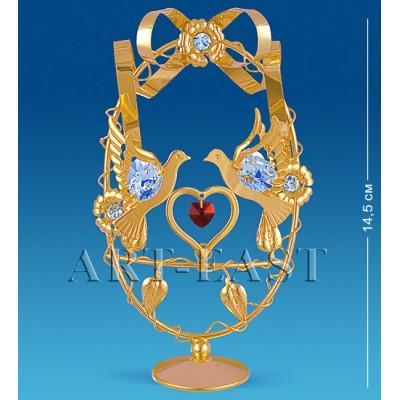 """Фигурка-композиция """"Голуби с сердцем в яйце"""" 9x4x14,5 см., с цвет. крист. Crystal Temptations, США"""