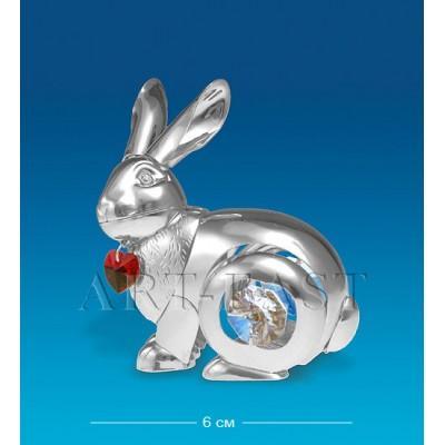 "Фигурка ""Кролик"" 6 см., посеребр. с красн. серд. Crystal Temptations, США"