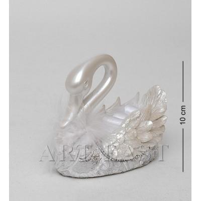 """Фигурка-подставка для колец """"Белый лебедь"""" 6,5x11,5x10 см., полистоун"""