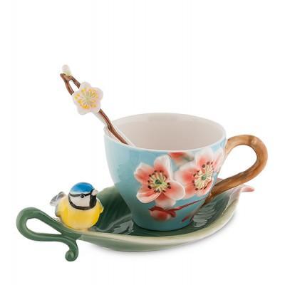 """Чайная пара """"Сливовый цветок"""" 150 мл., 3 пр., фарфор Pavone, Италия"""