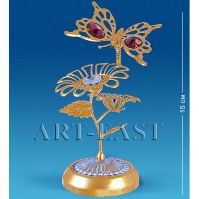 "Фигурка-композиция ""Бабочка на двух цветках"" 7,5x6x15 см., с цвет. крист. Crystal Temptations, США"