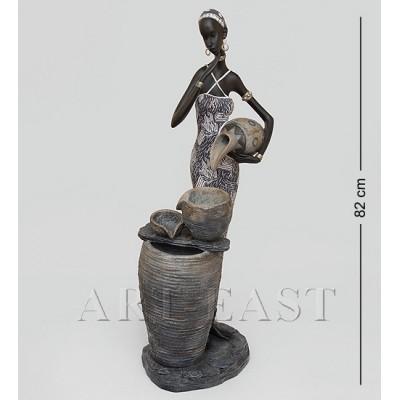 """Статуэтка-фонтан """"Африканская пара"""" 27x29x82 см., полистоун"""
