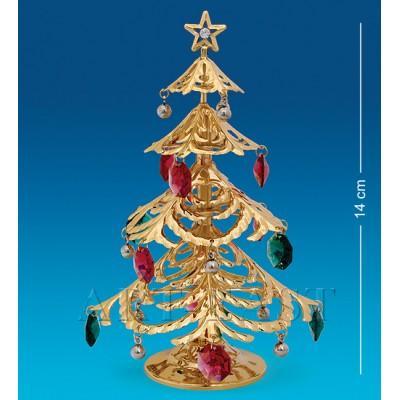 """Фигурка """"Новогодняя елка"""" 9,5x9,5x14 см., с цвет. крист. Crystal Temptations, США"""