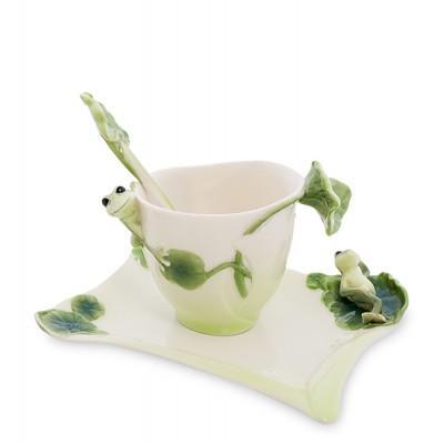 "Чашка с блюдцем ""Лягушки"" 150 мл., 3 пр., фарфор Pavone, Италия"