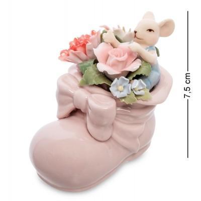 """Статуэтка """"Мышонок в цветочном башмаке"""", 7.5 см., фарфор Pavone, Италия"""