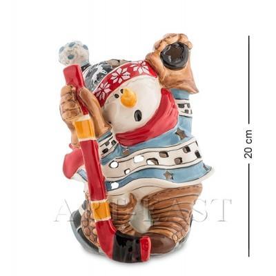 "Статуэтка-подсвечник ""Снеговик-хоккеист"" 15x14x20 см., Blue Sky, Италия"