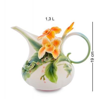 """Заварочный чайник """"Лягушки и цветы канны"""" 1.3 л., фарфор Pavone, Италия"""