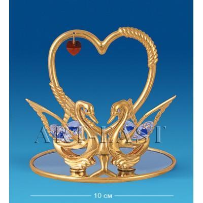 "Фигурка ""Сердце с лебедями"" на зеркале 10x9x9 см., Crystal Temptations, США"