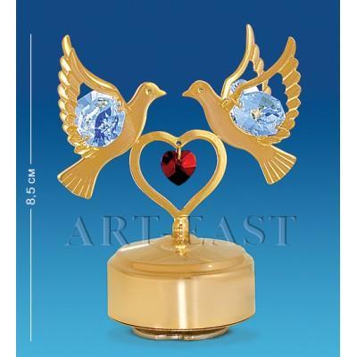 """Фигурка музыкальная """"Сердечко с голубями"""" 8,5 см., с цвет. крист. Crystal Temptations, США"""