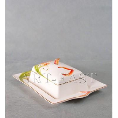 "Масленка ""Орхидеи"" фарфор"