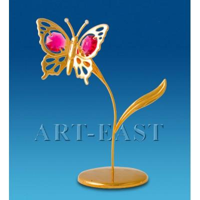 "Фигурка ""Бабочка на лепестке"" 7x7x13 см., с цвет. крист. Crystal Temptations, США"