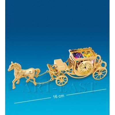 "Фигурка с часами ""Карета с лошадью"" 16x3,5x5 см., Crystal Temptations, США"