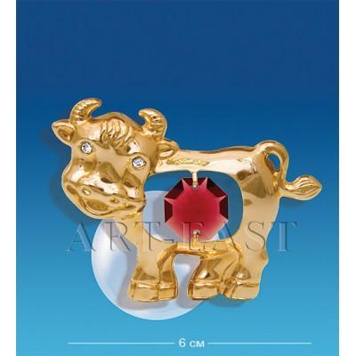 "Фигурка на магните ""Бык"" 6x4x3,5 см., с цвет. крист. Crystal Temptations, США"