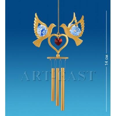 """Поющий ветерок """"Сердечко с голубями"""" 6,5x4x14,5 см., с цвет. крист. Crystal Temptations, США"""