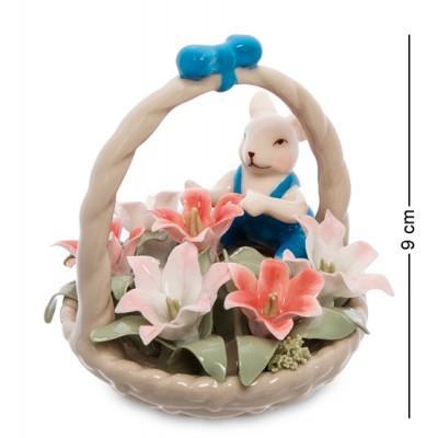 """Статуэтка """"Мышонок с цветочной корзинкой"""", 9 см., фарфор Pavone, Италия"""