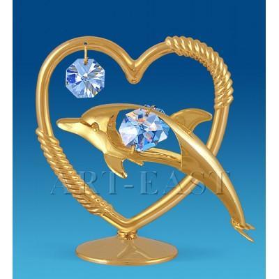 """Фигурка """"Сердечко с дельфином"""" 8,5x5,5x8,5 см., Crystal Temptations, США"""
