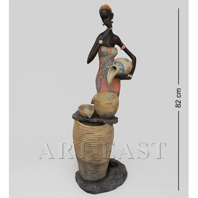 """Статуэтка-фонтан """"Африканская пара"""" 24x29x82 см., полистоун"""