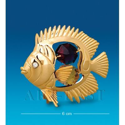 """Фигурка """"Рыбка-Дискус"""" 6 см., с цвет. крист. Crystal Temptations, США"""