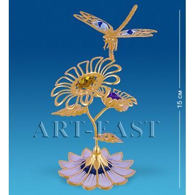 """Фигурка-композиция """"Стрекоза на двух цветках"""" 9x7x15 см., с цвет. крист. Crystal Temptations, США"""