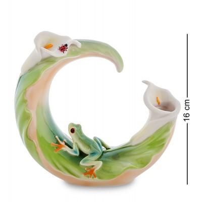 """Статуэтка-ваза """"Лягушка на лилии"""" 16 см., фарфор Pavone, Италия"""