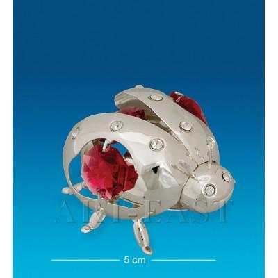 "Фигурка ""Божья коровка"" 5x4,5x3 см., посеребр. с цвет. крист. Crystal Temptations, США"