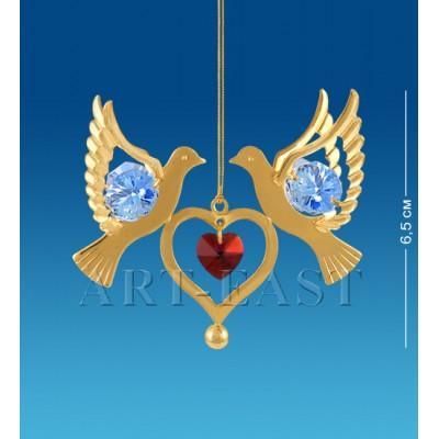 """Фигурка подвесная """"Сердечко с голубями"""" 6,5x5x6,5 см., с цвет. крист. Crystal Temptations, США"""