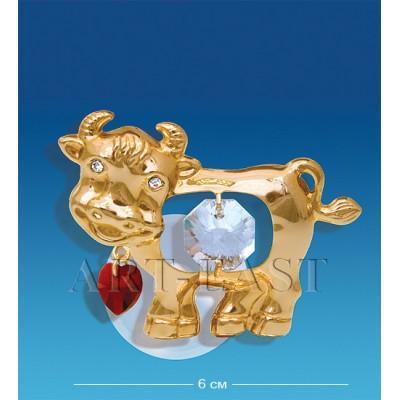 "Фигурка на магните ""Бык с сердечком"" 6x4x3,5 см., Crystal Temptations, США"
