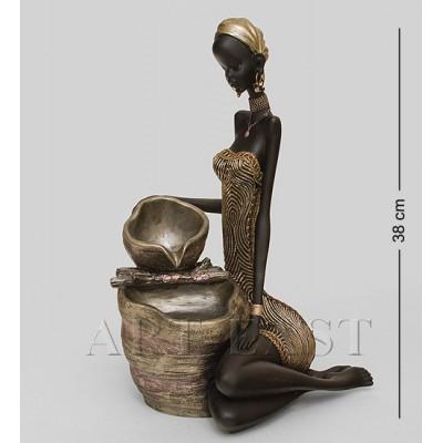 """Статуэтка-фонтан """"Африканская леди"""" 20,5x22x38 см., полистоун"""
