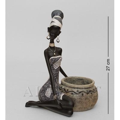 """Статуэтка-подставка под бутылку """"Африканская леди"""" 17,5x18,5x27 см., полистоун"""
